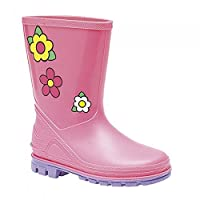 Girls Infant Pink Wellington Boot with Flower Motif 6 (24)