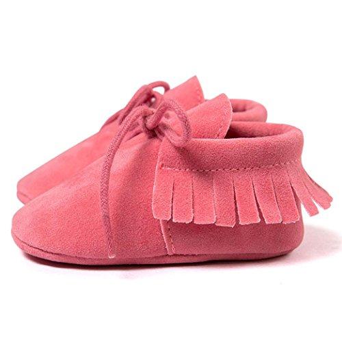 BZLine® Baby-Krippe Quasten weiche Sohle Schuhe Sneaker Schuhe Wassermelone-Rot