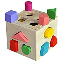 Askdasu 13 agujeros bebé inteligente juguetes de madera ladrillos clasificador cubo cognitivo y a juego bloques para niños