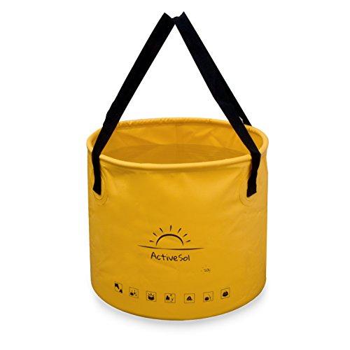 Active Sol Falteimer 20L Variante breit | Robust, faltbar, platzsparend für unterwegs | Garten, Outdoor, Angeln & Camping | Vielseitig einsetzbar: Spül-Schüssel, Wasch-Eimer, Tiertränke Pferd uvm.