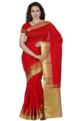 Mimosa By Kupinda Women's Tusser Silk Saree Kanjivaram Style Color :Red (3450-2123-RD-CKU)  available at amazon for Rs.943