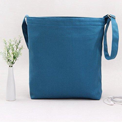 Koly_Fashion Girls Canvas borsa di acquisto Tote Shopper Bag Crossbody verde