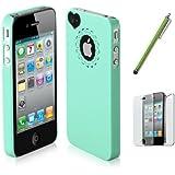 SODIAL(R) Verde - Funda Rigida Lustrosa Ultrafina para iPhone 4 4S, Protector de Pantalla, Lapiz Tactil Blanco