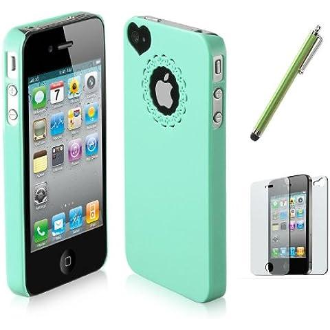 SODIAL(R) Verde - Funda Rigida Lustrosa Ultrafina para iPhone 4 4S, Protector de Pantalla, Lapiz Tactil