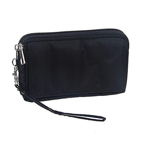 DFV mobile - Multipurpose Horizontal Belt Case with Zip Closure and Hand Strap for => XIAOMI MI 9 SE (2019) > Black (15.5 x 8.5 x 2 cm)