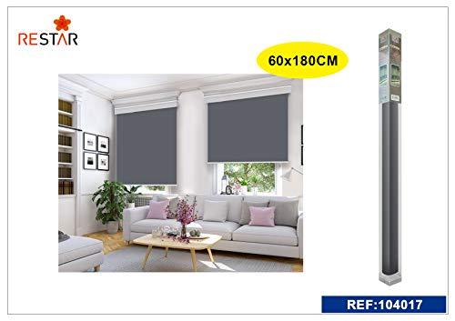 REAL STAR Estor Enrollable translúcido Liso (Gris, 60x180cm)