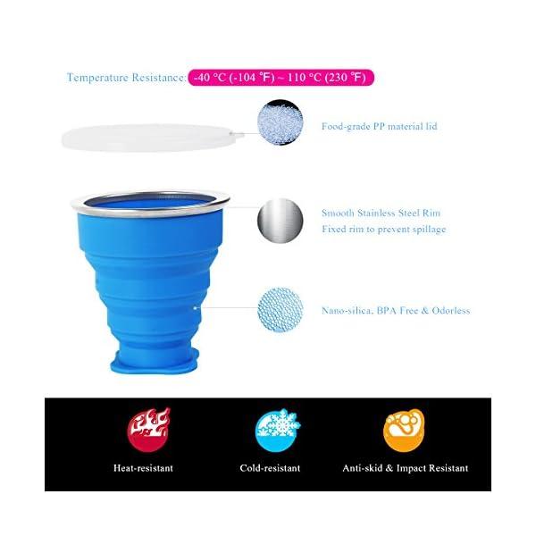 2 pcs Tazas de Viaje 200ml de Silicona Plegable Portátil y Reutilizable,Vaso Con Tapa sin BPA para camping senderismo y… 2