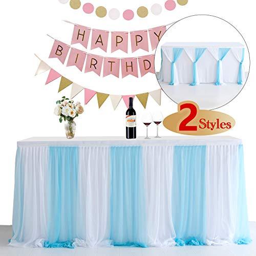 NSSONBEN Tüll Tischrock Blau Weiß Tischröcke Tischdeko für Babyparty Junge, Baby Shower, Hochzeit, Geburtstag, Kindergeburtstag (Weiß Blau, 2 Yards)