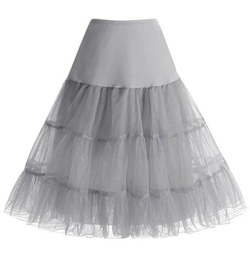 HomRain 1950 Petticoat Vintage Retro Unterrock Reifrock Underskirt für Rockabilly Kleid Grey S
