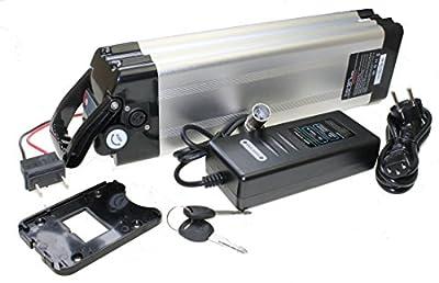 Akku 36V 10Ah Lithium Ionen Ersatzbatterie Rahmenakku mit Ladegerät für E-Bike Pedelec Elektrofahrrad z.B. Prophete Aldi Mifa Rex