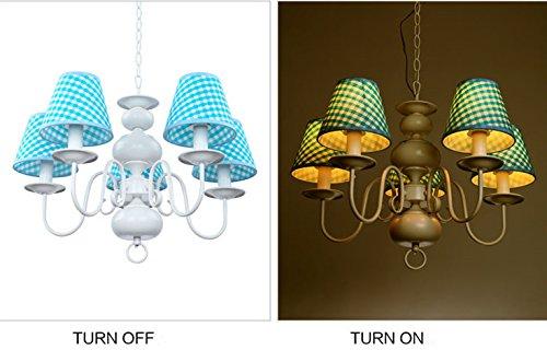 Neue Kronleuchter einfachen Tuch schöne Beleuchtung Rauch blaue LED Junge Doppellampenschlafzimmerlampe hängen - 2