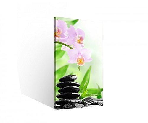 Leinwand 1 Tlg Wellness Stein Feng Shui Steine Blume Bilder Bild Orchidee 9B812Holz - fertig gerahmt - direkt vom Hersteller, 1 Tlg BxH:30x60cm