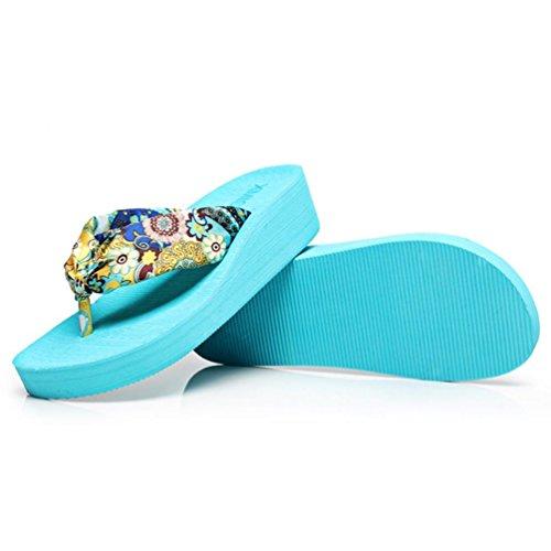 SHANGXIAN Frauen-Strand-Flip-Flops mit Keilabsatz Blue