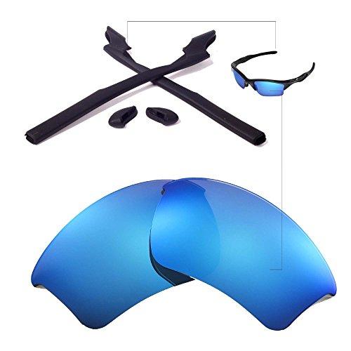 Walleva Wechselgläser Und Earsocks für Oakley Half Jacket 2.0 XL Sonnenbrille - Mehrfache Optionen (Blaue Linsen + Schwarzer Gummi)