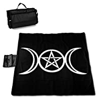 """MZZhuBao Wicca Triple Moon Pentacle Pagan Extra Large Picnic Blanket 57"""""""" x59 Outdoor Water Resistant Sandproof Beach Blanket Mat with Tote Bag for Yard Lawn"""