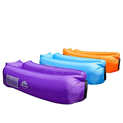 WEKAPO Inflatable Air Lounger, Blow up Sofa Couch, Portable Chair, with Carry Bag, Integrated Pillow, Securing Stake and Bottle Opener for Travelling, Camping, Hiking, Pool Floats, Beach Party, Sleeping, Backyard & Musical Festivals - cheap UK light store
