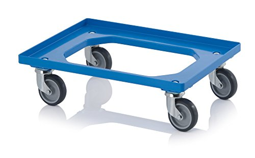 Transportroller rot mit Gummrädern für 60x40 Eurobehälter -
