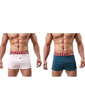 Uomo Cotone Confortevole Traspirante Pantaloncini Boxer A vita Alta Cinghia lunga Biancheria Intima 2 Pezzi