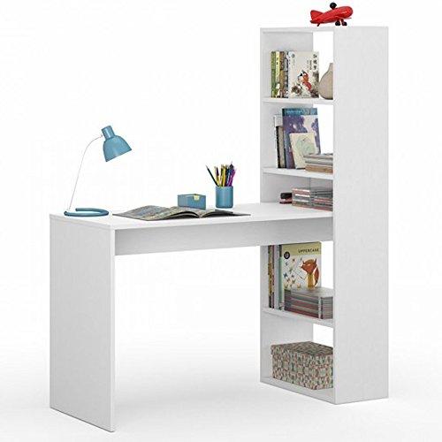 Habitdesign 008314A - Escritorio con estantería, Blanco