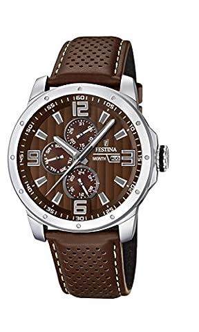 Festina Herren-Armbanduhr XL Sport Multifunktion Analog Quarz Leder