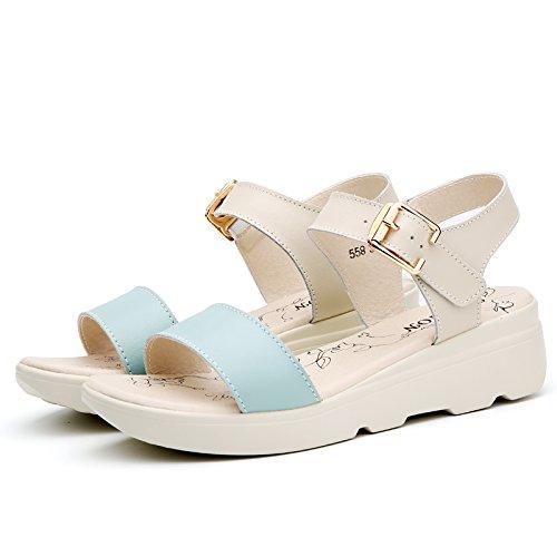 XY&GKKomfort im Sommer Dicke unten mit Sandalen Mädchen Flach mit Flachbild Studenten Leder Sandalen, komfortabel und schön 38 blue