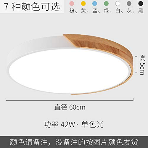 Led ultradünne Schlafzimmer Studie Lampe Runde Holzkunst Schmiedeeisen Lampen 60cm weiß hellrosa