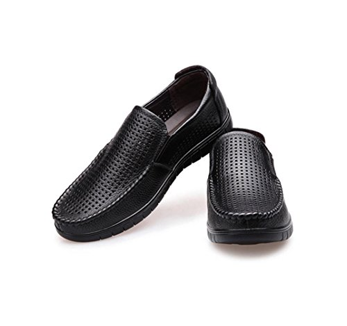 HYLM I pattini casuali di cuoio dei sandali degli uomini di estate nuovi calza i pattini respirabili del piede dei pattini del piede Black