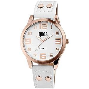 QBOS Damen - Uhr Lederimitationsarmband Analog-Anzeige Quarzwerk 1900199