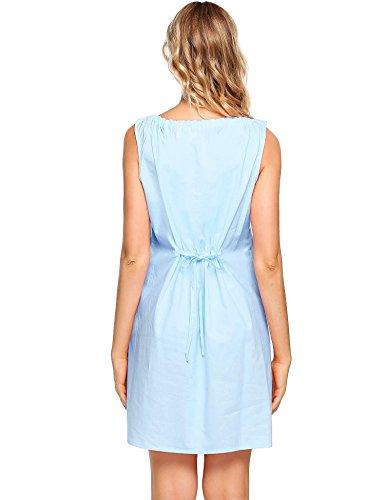 Ekouaer Damen Nachthemd Kleid Baumwolle Ärmellos Spitze Stil Nachtwäsche Lang Nachtkleid kurzarm Umstandsnachthemd Taille Weiß/Rosa/Blau Große S-XXL 6012_Blau