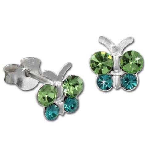 Teenie-Weenie Ohrstecker grün Ohrringe Silber Schmetterling Kinder D1SDO8014G -