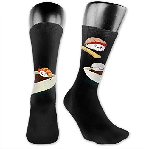 Unisex Performance Cushion Crew Socks Tube Socks Sushi Cartoon New Middle High Socks Sport Gym Socks -