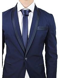 64fb481aee919 Abito completo uomo sartoriale blu scuro elegante cotone raso made in Italy  con cravatta in coordinato
