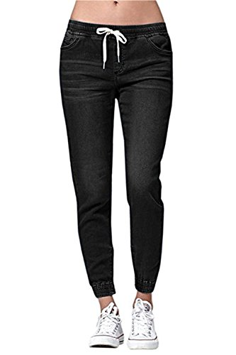 Ybenlover Damen High Waist Jeans Straight Slim Denim Stretch Lang Jeanshosen Mit Gummizug