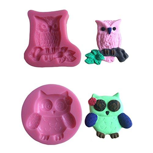 Karen Baking 2Pcs/Set Eule Geformt 3D Silikon-verzierender Schokoladen-Kuchen-Form-Fondant-backendes Werkzeug-Rosa