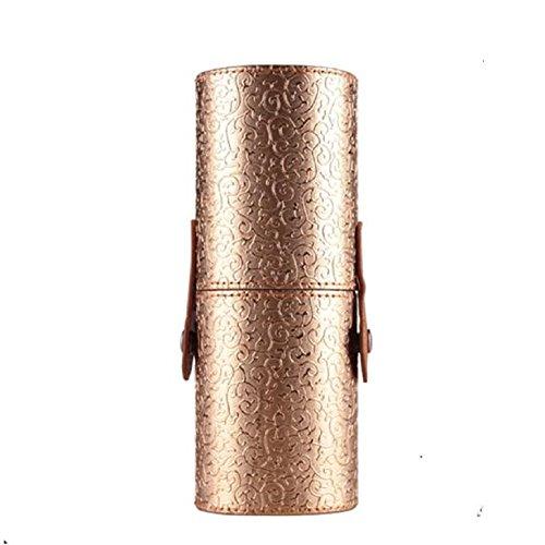 Vovotrade® Custodia In Pelle Cosmetici trucco Portable Storage sacchetti dellorganizzatore pennello tazza titolare (Nero) Oro