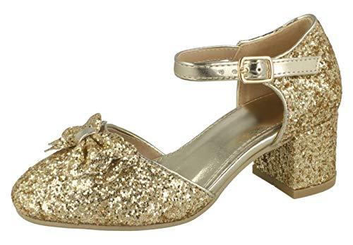 Lora Dora Mädchen Blockabsatz Party Schuhe Mary Jane Strap, Gold - Gold - Bow - Größe: 33 EU -