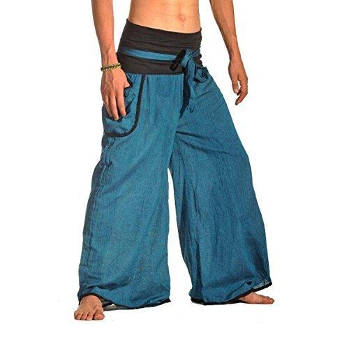 Haremshose Freizeithose Fischerhose Fitness Hippie Goa Schlupfhose Psy Ethno Sport Thai (Blau, S/M) (Der In Gesmokt Taille Hose)