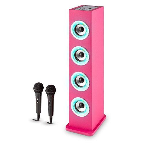 auna Karaboom PK LED Karaoke Game for Children • Broadband Audio Tower • Bluetooth • USB • AUX • MP3 Player • Bass Enhancer • VHF Radio • Pink