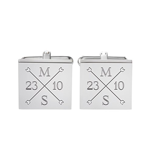 Gravado – Quadratische Manschettenknöpfe mit Gravur – Hochzeit – Personalisiert mit [Initialen] und [Datum] – Edelstahl – Farbe: Silber – Geschenkbox – Geschenkidee für Bräutigam und Trauzeugen