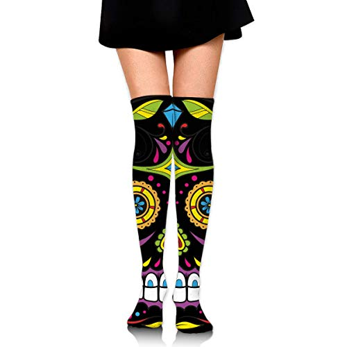 HRTSHRTE Halloween Sugar Skull Colorful Ankle Stockings Over The Knee Sexy Womens Sports Athletic Soccer Socks (Für Halloween Sugar Skull)