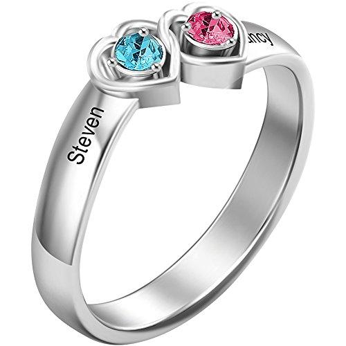 Soufeel Personalisierte Damen Ring mit Swarovski Zirkonia Stein Geburtsstein & Gravur Rhodiniert 925 Sterling Silber (Steine wählbar) Geschenkidee für Valentine Jahrestag Geburtstag