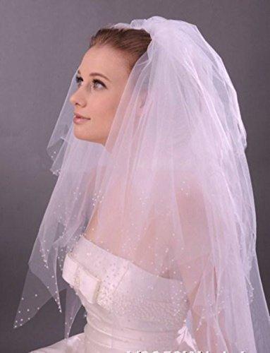 LadyMYP© Brautschleier, 4lg, mit Perlen aufwendig verziert, weiß/ivory (Ivory(Hellcreme))