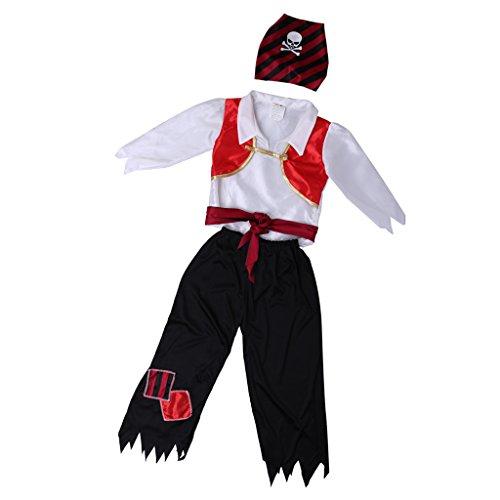 MagiDeal Kind Mädchen Jungen Halloween Karneval Fasching Piraten Cosplay Kostüm - Jungen mehrfarbig, XL