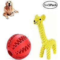 Juguete de goma para masticar mascotas, perros, cachorros, juguete de cuerda para rebote, juguete para limpiar los dientes de los perros pequeños y medianos (bola rojo) con dientes naturales de algodón para masticar pequeños juguetes de perro (jirafa)