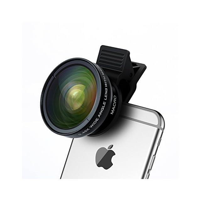 Turata Universel 2 en 1 Kit de Lentille de Caméra Objectifs HD 0.45X Objectif Grand Angle + 12.5X Objectif Micro pour iPhone 6/SE/5S/5C, Samsung Galaxy S6/S5/, Note 4/3 et caméra professionnel