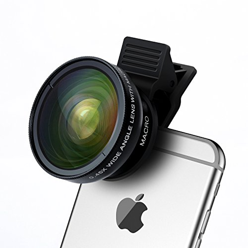 Universel 2 en 1 Kit de Lentille de Caméra Objectifs Smartphone HD 0.45X Objectif Grand Angle + 12.5X Objectif Macro pour iPhone 6/SE/5S/5C, Samsung Galaxy S6/S5, Note 4/3, Huawei, HTC, Sony et Autre