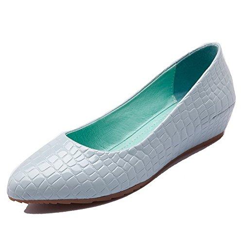 VogueZone009 Femme Tire à Talon Bas Pu Cuir Couleur Unie Pointu Chaussures Légeres Bleu