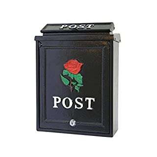 POSTBOX COLLECTION BY PRICE CRUNCHERS - Lockable Heavy Duty Secure Wall Mounted Letter Mail Post Box Stainless Steel (5. Red Rose)