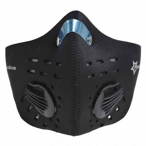 RockBros sport outdoor maschera antivento antipolvere Haze prevenzione mezza maschera con filtro al carbone attivo, Black