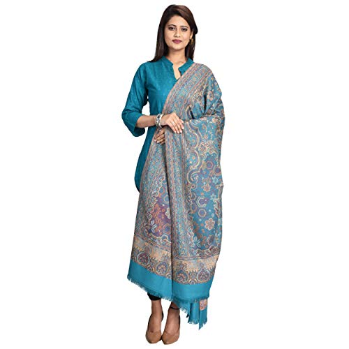 SWI STYLISH Women's Woven Shawl in Wool Blended Fabric, Jamawar Pattern in Staple Thread, Size 40x80 Inches